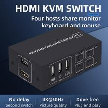 4K Ultra HD KVM Switcher 4 Ports USB Aluminum Alloy Durable Stable Adapter HDMI-Compatible Convertor PC Mouse Keyboad Monitor