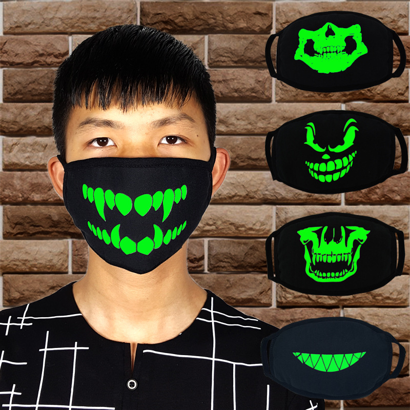 Personalized Teeth Blue Fluorescent Luminous Mask Tide Skull Head Men And Women Creative Breathable Black Cotton Couple