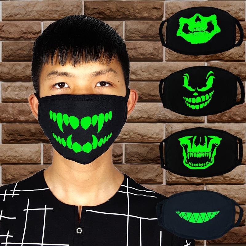 Personalized Teeth Blue Fluorescent Luminous Mask Tide Skull Head Men And Women Creative Breathable Black Cotton Couple