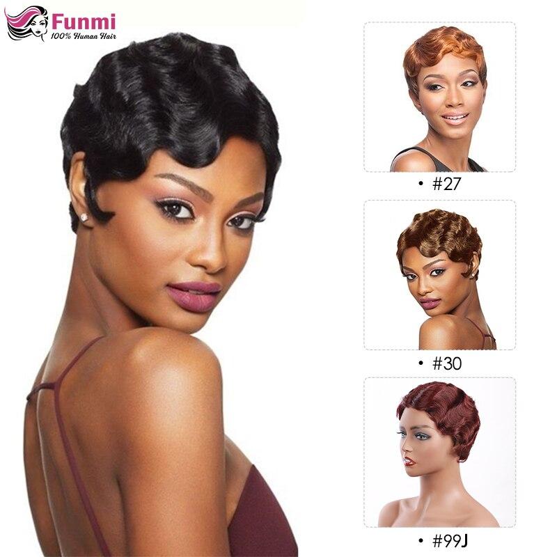 Finger Wave Short Human Hair Wigs Pixie Cut Wig 99j Burgundy Wig For Black Women Honey Blonde Full Machine Made Human Hair Wigs