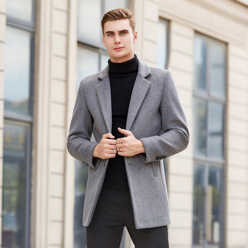 Men's Coat Wool Long Overcoat Men Warm Men's Jacket Solid Trench Coat Winter Men Casual Coat Men Black Gray Navy Blue Overcoat