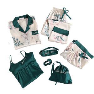 Image 5 - Winter New 7 Pieces Set Women Pajamas Printing Fashion Long Sleeve Pyjamas Set With Chest Pad Spaghetti Strap Sleepwear