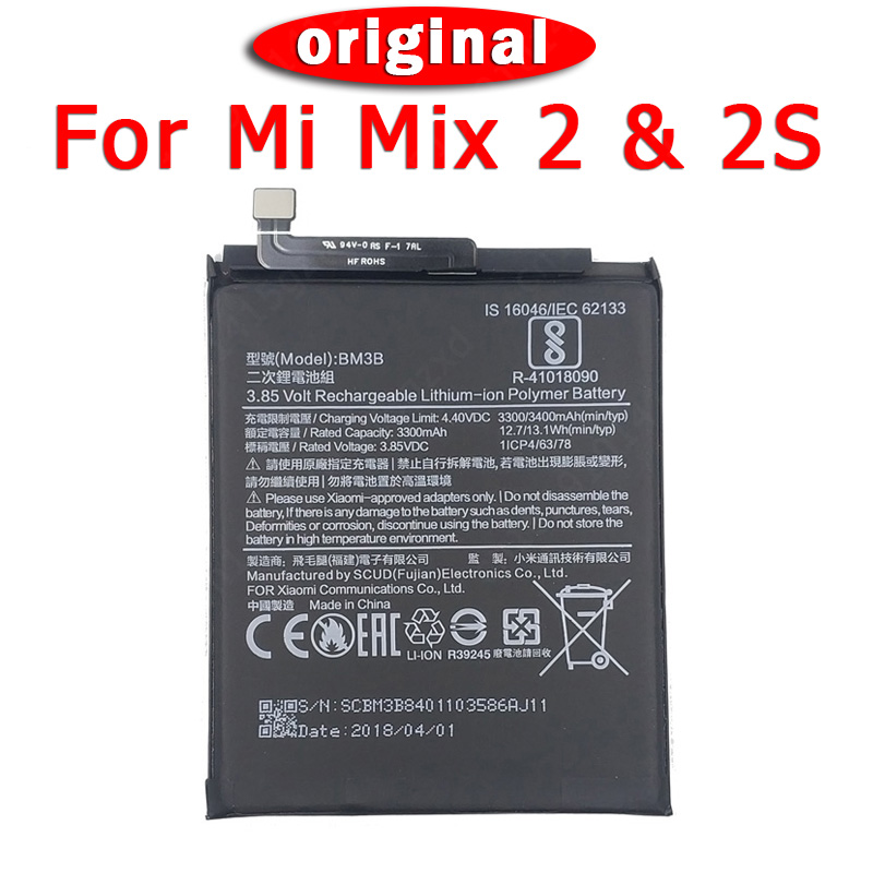 100% Original BM3B <font><b>Battery</b></font> For Xiaomi <font><b>Mi</b></font> <font><b>Mix</b></font> 2 <font><b>2S</b></font> <font><b>Batteries</b></font> Li-ion 3300mAh Bateria Replacement Spare Parts image