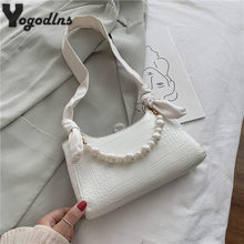 Luxe perle conception femmes mini cuir PU sous les bras sac Vintage dames élégant sac à bandoulière motif Crocodile femme Baguette