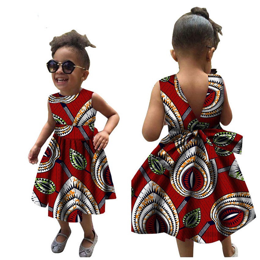 Children Summer African Dresses for Women Girl Kids 2020 <font><b>News</b></font> Bazin Dashiki Traditional Floral Print Vintage African Clothes image