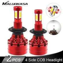 2 adet LED 360 H7 far ampulü 16000LM 4 yan COB LED H4 H1 H11 H8 HB3 HB4 otomatik sis farları 12v 24v araba ışıkları Hyundai/Skoda