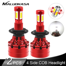 2PCS LED 360 H7 Headlight Bulb 16000LM 4 Side COB LED H4 H1 H11 H8 HB3 HB4 Auto Fog Lights 12v 24v Car Lights for Hyundai/Skoda