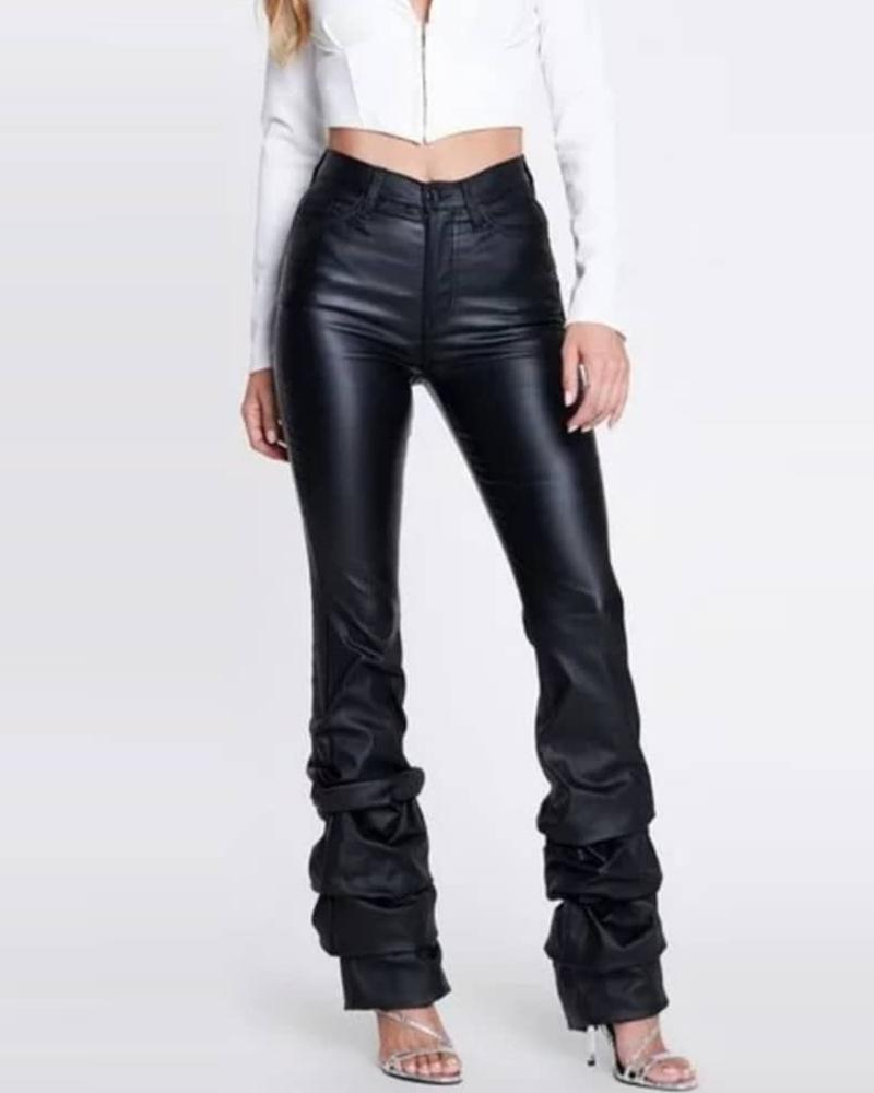 Solid High Waist Layered Ruched PU Pants