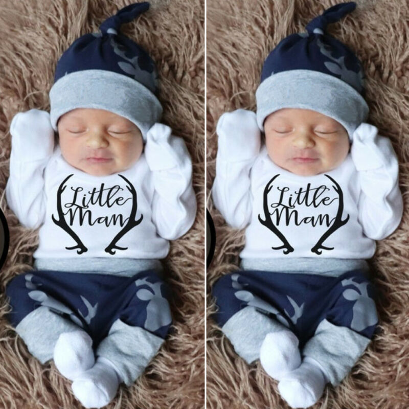 2020 New Fashion 3PCS Newborn Baby Boy Clothes Costume Little Man Romper+Deer Leggings+Hat Warm Outfit Baby Boy Infant Clothes