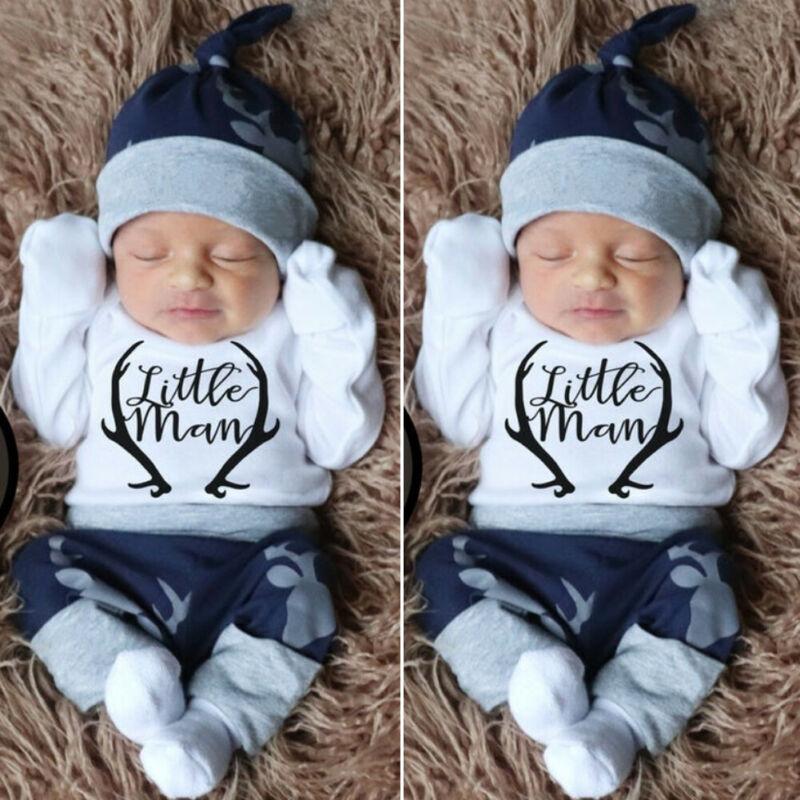 2020 New Fashion 3PCS Newborn Baby Boy Clothes Costume Little Man Romper+Deer Leggings+Hat Warm Outfit Baby Boy Infant Clothes