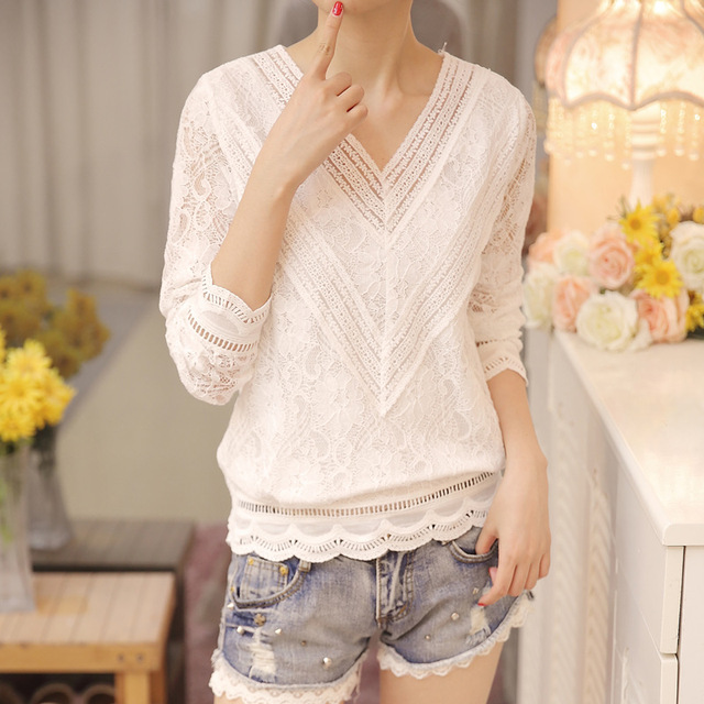 New Arrived Autumn Fashion Women Blouse Long Sleeved Lace Women Top Lace Bottoming Blouses Causal Slim Fit Shirts Blusa 0943 40 5