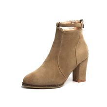 Europe Brand Women's Boots Autumn and Winter New Martin Boots High Heel Zipper Fashion Flock Solid Sexy Pointed Elegant Discount haraval handmade winter woman long boots luxury flock round toe soft heel shoes elegant casual warm retro buckle solid boots 289