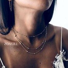Женские многослойные цепочки с золотыми бусинами ожерелье подвеской