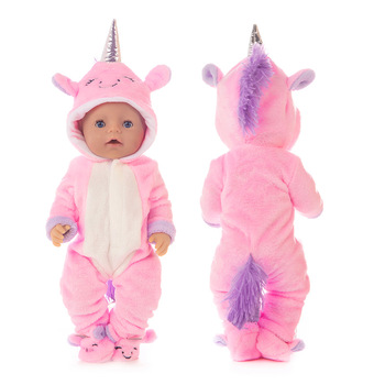Baby New Born Fit 17 Inch 43cm Doll Clothes Accessories Red Purple Blue Unicorn Suit For Baby Birthday Gift