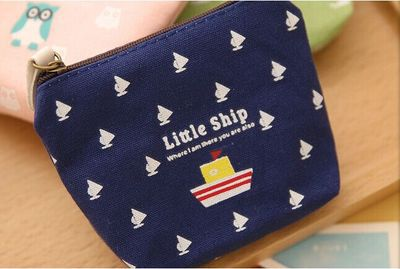 High Quality South Korea Stationery Happy Family Wallet Canvas Key Case Cross Square Purse