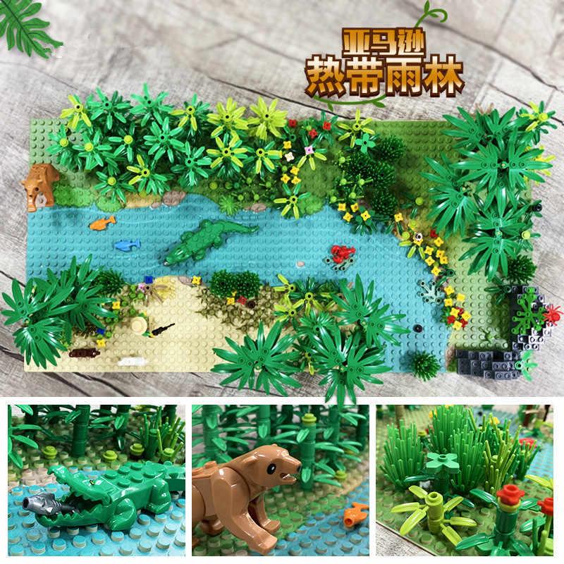 Pioggia Alberi della Foresta Animali Costruzione Building Blocks Set Bambini Giocattoli FAI DA TE Giocattoli Per Bambini Classico Mattoni Piastra di Base Compatibile