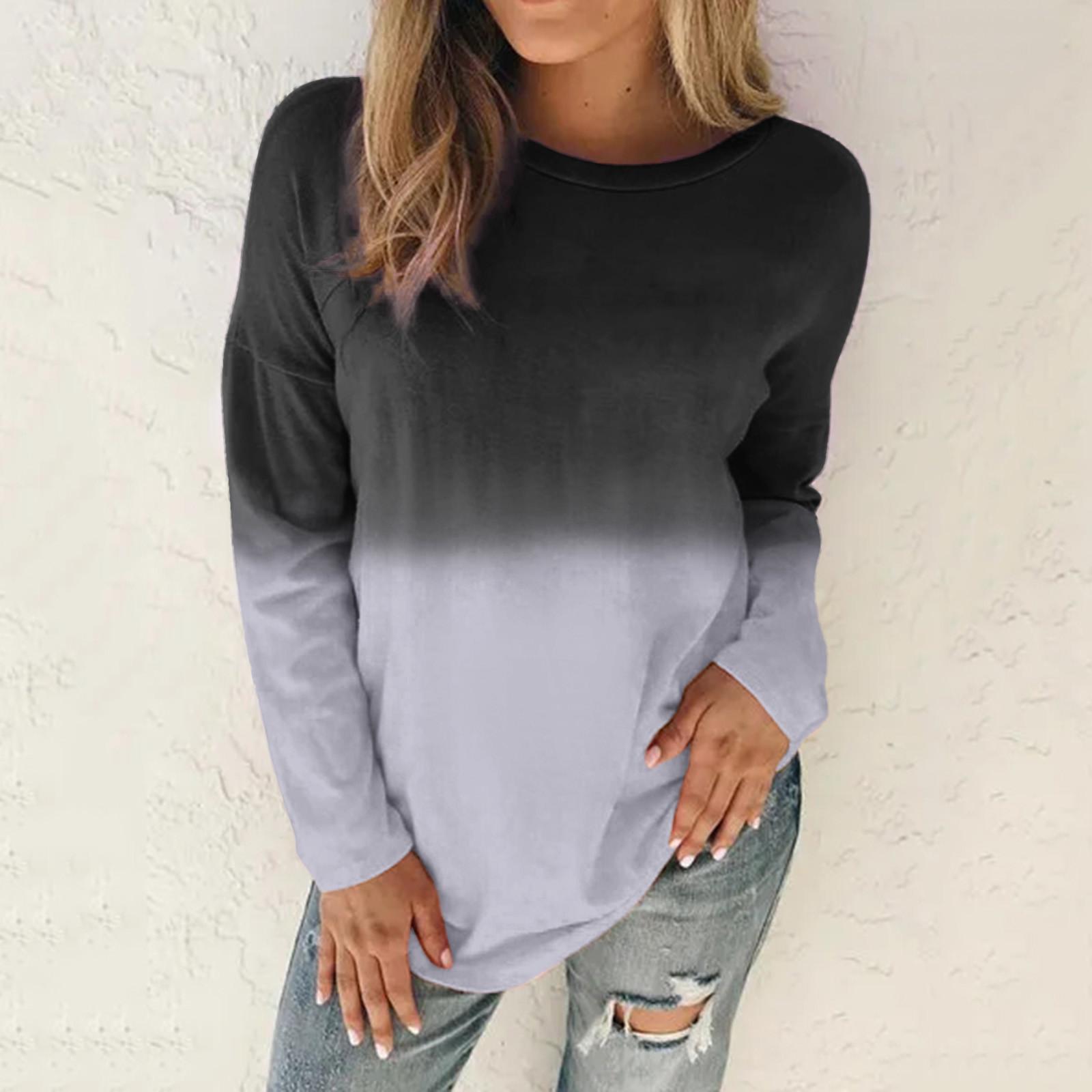 4# Women Aesthetic Sweaters Women Plus Size Tie Dye Sweaters Printed Gradient Pullover Long Sleeve Sweaters Top Толстовка
