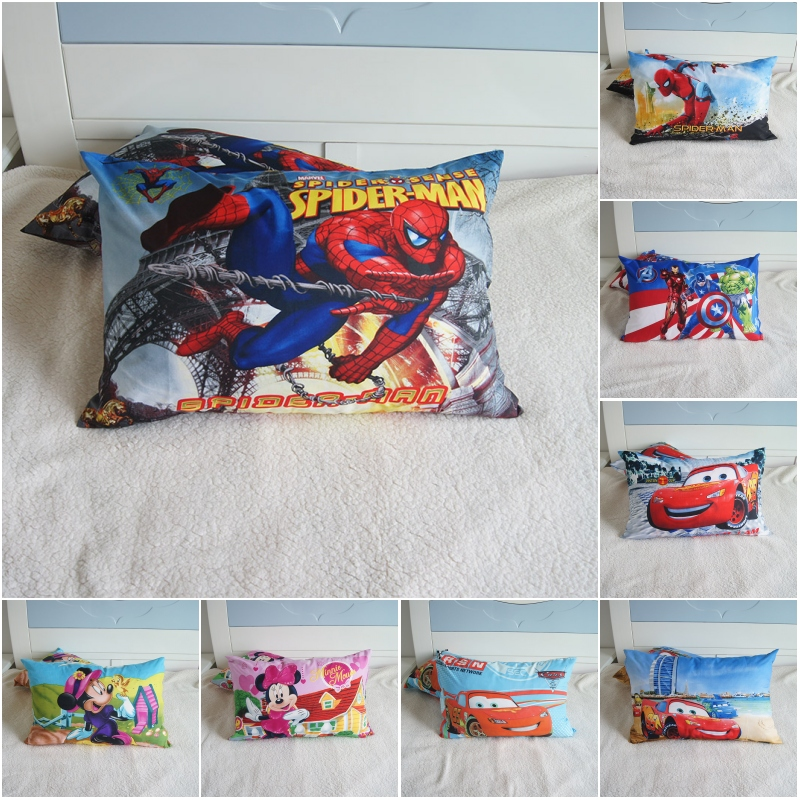 Disney Cartoon Spiderman Captain America Kids Pillowcases Baby Boys Girls Gift Decoration 3D Pillow Cover Pair 48x74CM On Bed