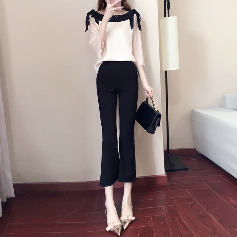 Loose Pants WOMEN'S Ninth Pants 2019 Spring And Summer New Style Slim Fit Micro Bell-bottom Pants Korean-style High-waisted Slim