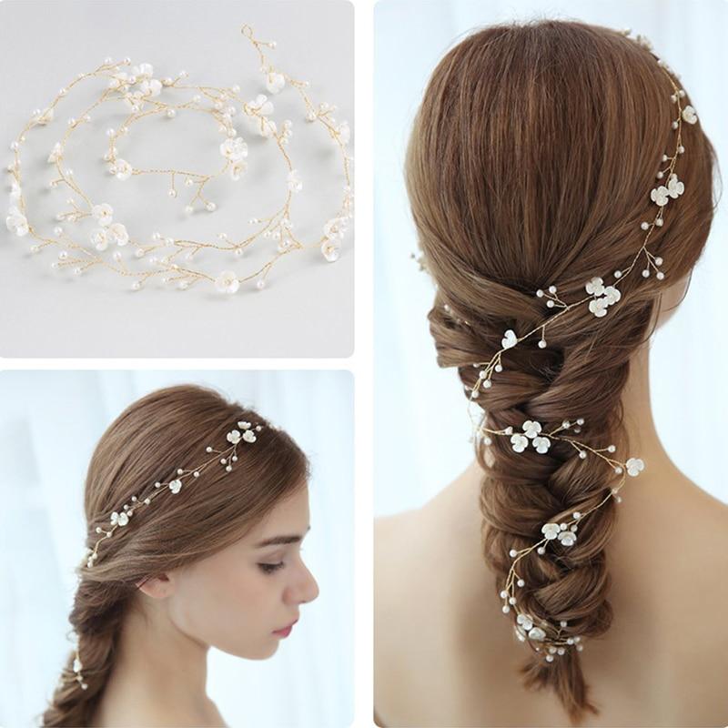 Женский свадебный аксессуар для волос, украшение для волос с цветочным жемчугом и стразами