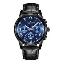 Fashion Mens Watch Male Leather Strap Wristwatch Waterproof Luminous Pointer Watches Men Clock
