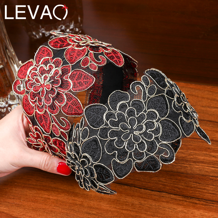 Levao Wide Hook Flower Hair Hoop Head Band For Women Headwear Lace Flowers Headband Hairband Girls Hair Bezel Accessories