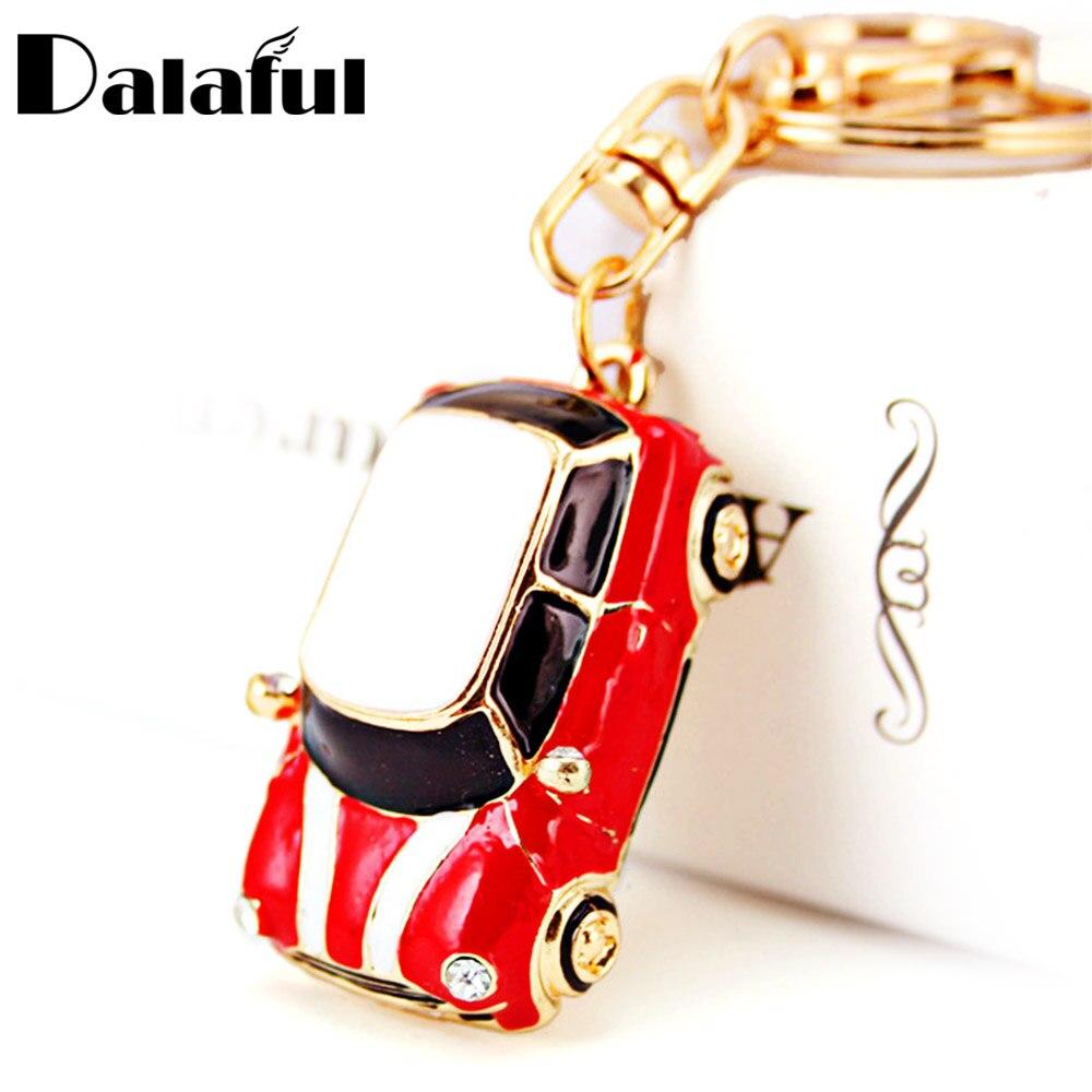 Dalaful Cute Enamel Car Key Chains Holder Crystal Rhinestone HandBag Pendant Fashion Keyrings Keychains K242