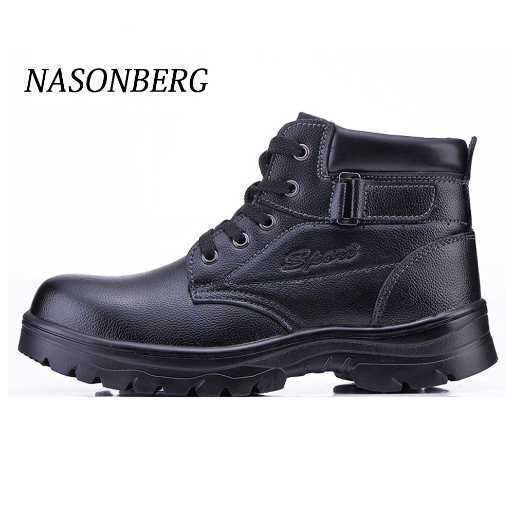 NASONBERG Breathable Men's Steel Toe Work Safety Shoes Casual Outdoor Sneakers Puncture Proof Boots Comfortable Industrial Shoes