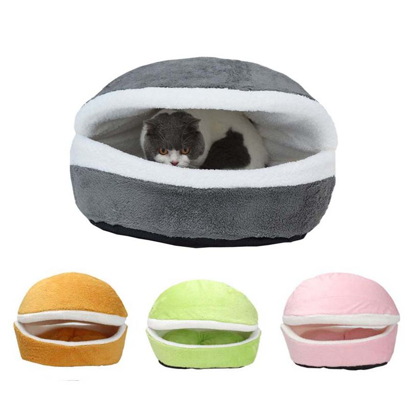 Removable Cat Sleeping Bag Sofas Mat Hamburger Dog House Cotton Kitten Cave Bed and Puppy Nest Bedding Kennel