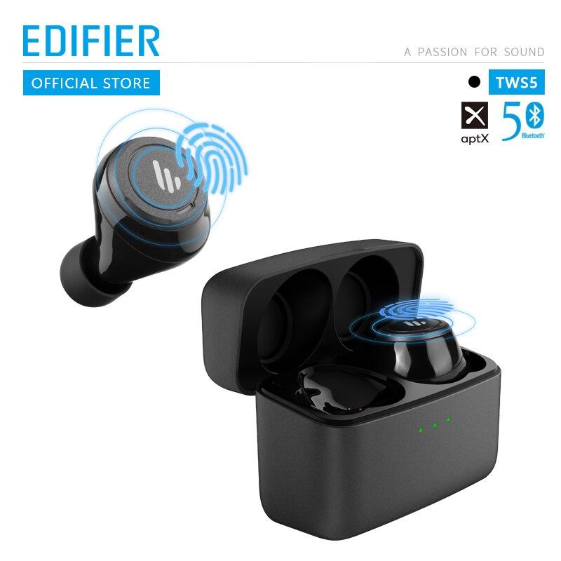 EDIFIER TWS5 aptX decodificação de áudio Fones de Ouvido Bluetooth TWS V5.0 IPX5 controle de Toque até 32hrs playtime fone de ouvido sem fio À Prova D' Água