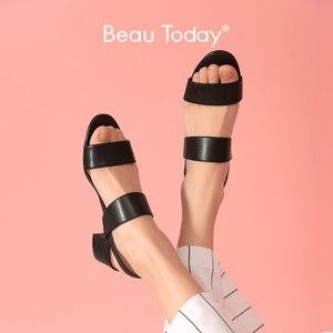 Женские босоножки из натуральной бычьей кожи BeauToday, летние босоножки в римском стиле без застежек, на среднем каблуке, ручная работа, 31041
