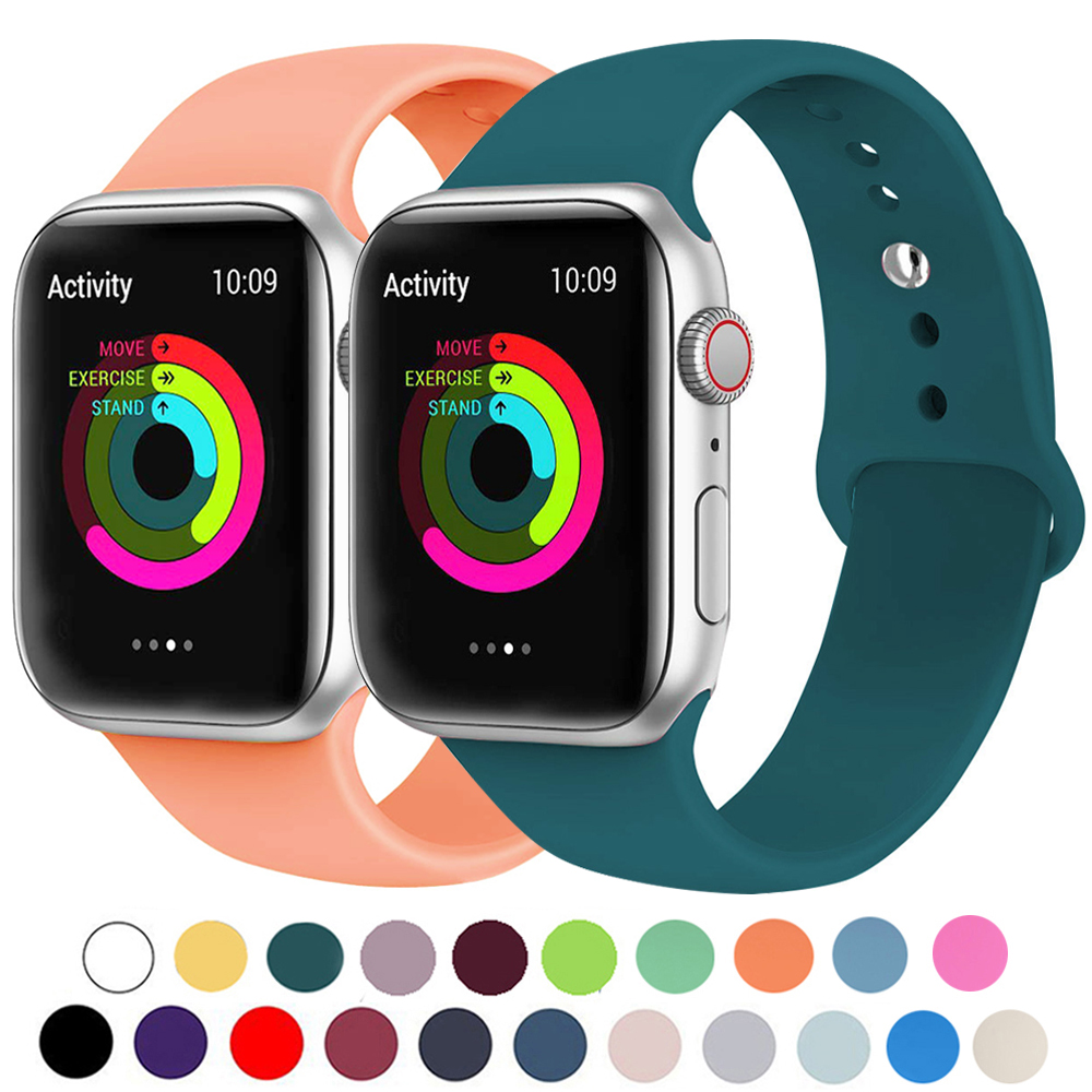 Silicone Strap For Apple Watch Band 40mm 44mm Series 5 4 Rubber Sport Bracelet Band For Apple Watch 38mm 42mm Series 3 2 1