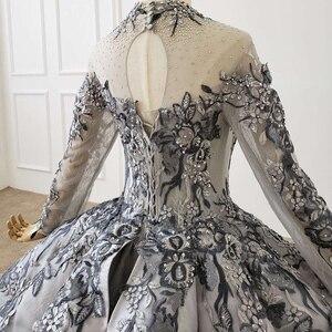 Image 4 - HTL1199 nowa długa elegancka suknia wieczorowa 2020 z długim rękawem na szyję aplikacja kryształowa koronka z powrotem cekinami