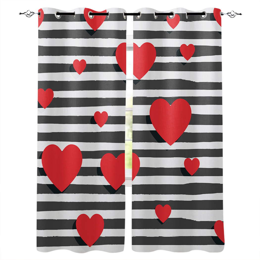 Stripe Background Red Heart Window Curtain Living Room Bathroom Kitchen Curtains Luxury Home Decor Curtains Aliexpress