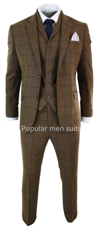 (Jakcet+Pant+Vest) Men's Wedding Dress Suit Brown Plaid Suits Two Buttons Male Clothes Business Prom Formal Terno Masculino