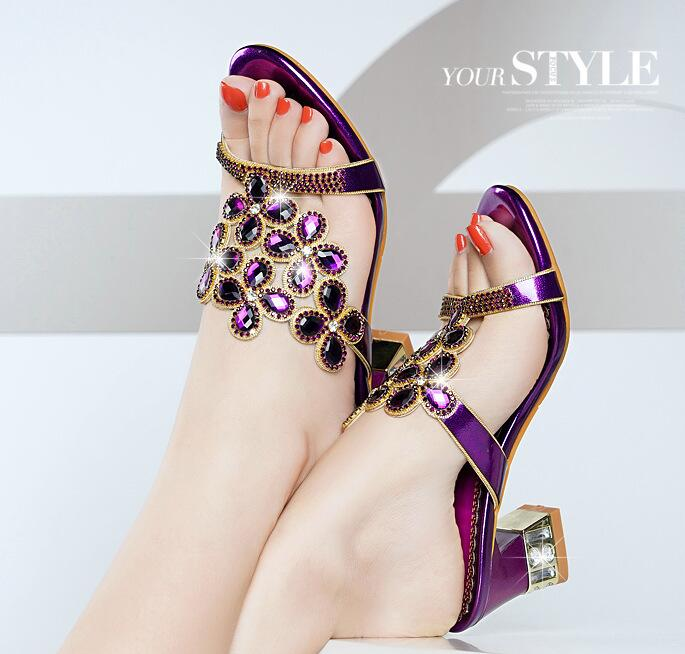 2020 Leather Shoes for chassure femme Open Toe Sandals Pumps Women Wedding Shoes Decorated Rhinestone Party Shoes