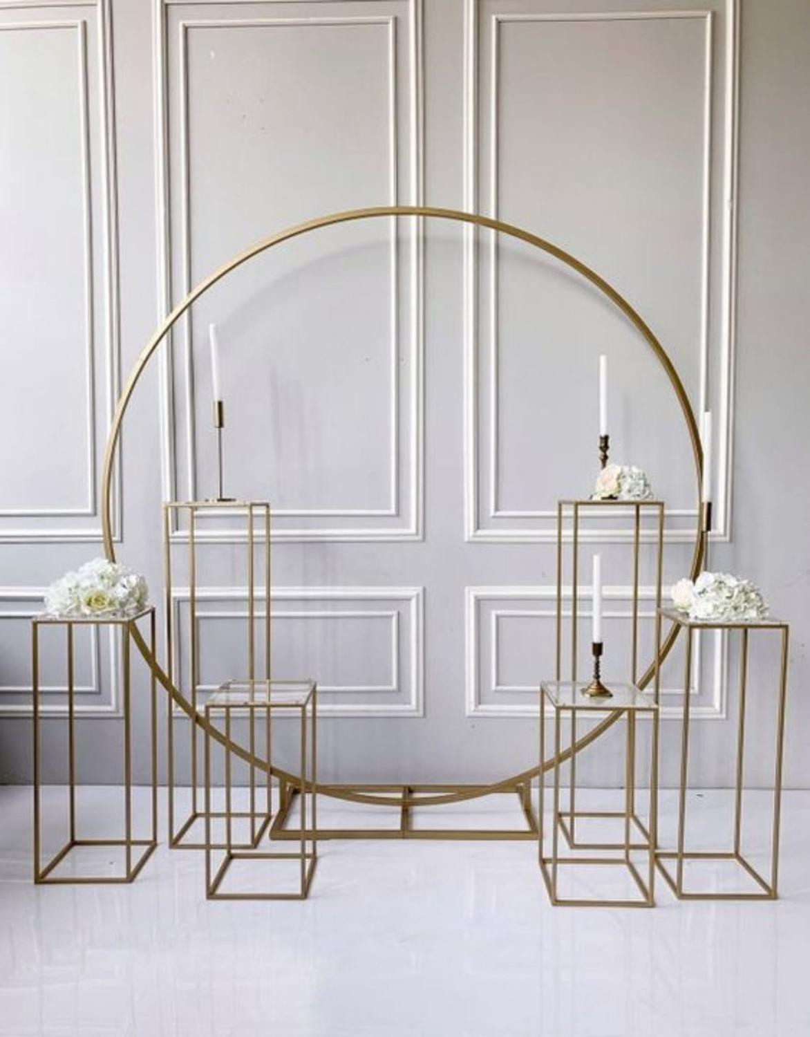 grand-event  geometric props backdrops arch flower outdoor lawn flowers door balloons rack iron circle Wedding arch sash holders