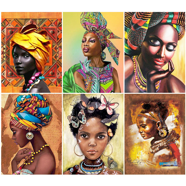 HUACAN DIY 5D Diamond Painting Portrait Full Square African Woman Diamond Embroidery Picture Home Decoration