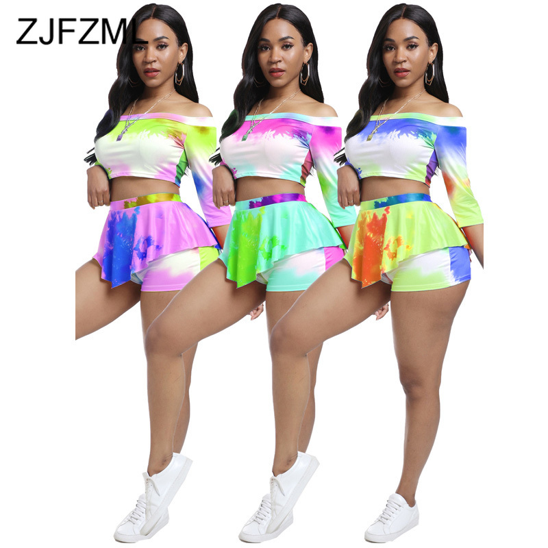 Plus Size 2 Piece Club Outfit Summer Clothes For Women Tie Dye Print Half Sleeve Slim Fit T Shirt And Bodycon Short Matching Set