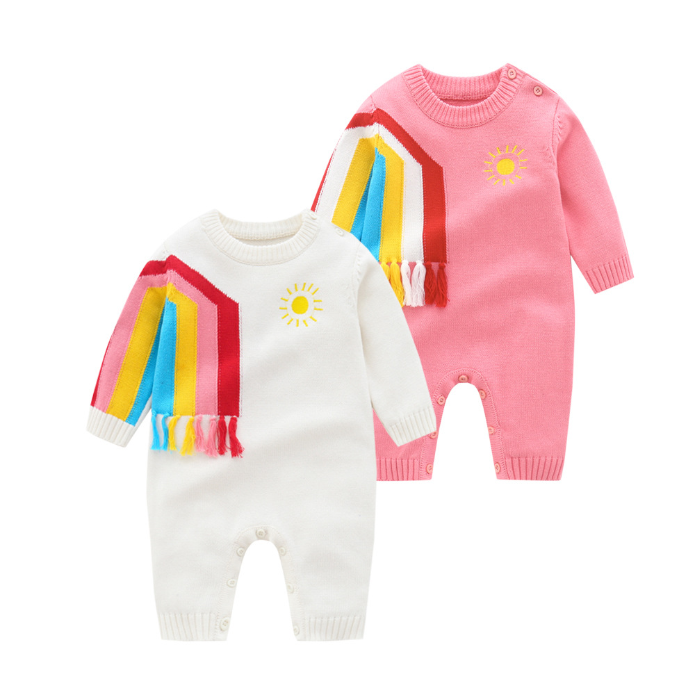 2021 Baby Rainbow Sweaters Newborn Knitted Rompers Girls Kniting Jumpsuit Baby 1st Birthday Knitwear Toddler Sweater Outfits