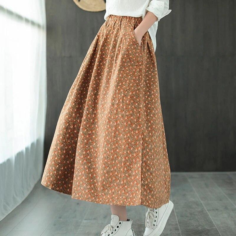 Женская свободная юбка Johnature, осенне-зимняя хлопковая юбка в стиле ретро с карманами и эластичной резинкой на талии 2020
