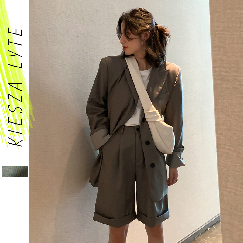 Women Pant Suit  High Street New Fashion Runway Blazer Jacket Knee Length Pant Suits 2 Pieces Sets 2020 Spring Female Outfits