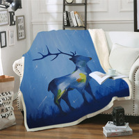 Seasons Change Blanket for Adults Sherpa Fleece Floral Deer Elk Microfiber Wearable Blanket on the Bed Sofa Dropship