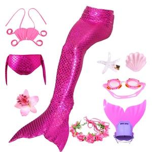 Image 3 - 9 pz/set Ragazze Balneabile Mermaid Tails Cosplay Costumi Delle Ragazze Dei Bambini di Nuoto del Bikini Costume Da Bagno Costume Da Bagno con I Capelli Pinze Monofin