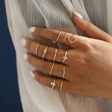 WUKALO 11 Pcs/Set Simple Design Round Gold Color Rings Set For Women Handmade Geometry Finger Ring Set Female Jewelry Gifts