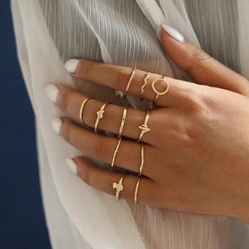 WUKALO 11 sztuk zestaw prosta konstrukcja okrągłe złote kolorowe pierścienie zestaw dla kobiet Handmade geometria Finger zestaw pierścieni damska biżuteria prezenty tanie i dobre opinie Modyle Ze stopu cynku Kobiety Cyrkonia Napięcie ustawianie Moda TRENDY Zespoły weselne Geometryczne Zaręczyny Wszystko kompatybilny