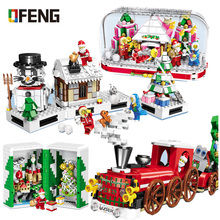 New holiday Santa Claus Snowman Building Blocks train model figure bricks toys for children Christmas Gifts