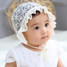 Baby Girl Cap Lace Flower Lucu Bayi Bayi Hat luar ruangan Balita Sun Visor Hat Spring Summer Newborn Photography Props(China)