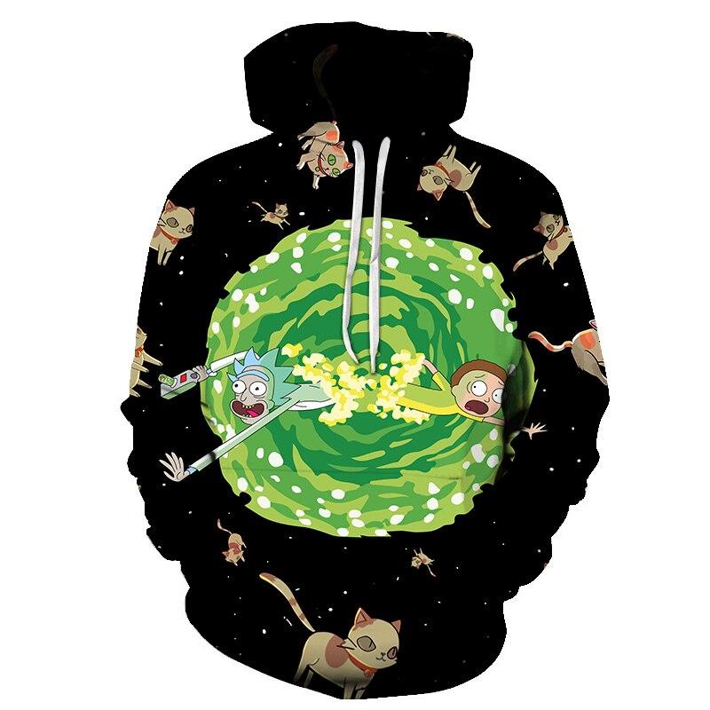 Custom 3D Sweatshirts Hip Hop Men/Women Hat Funny Print Rick Morty Crazy Scientist Winter Loose Thin Hooded Hoody Tops