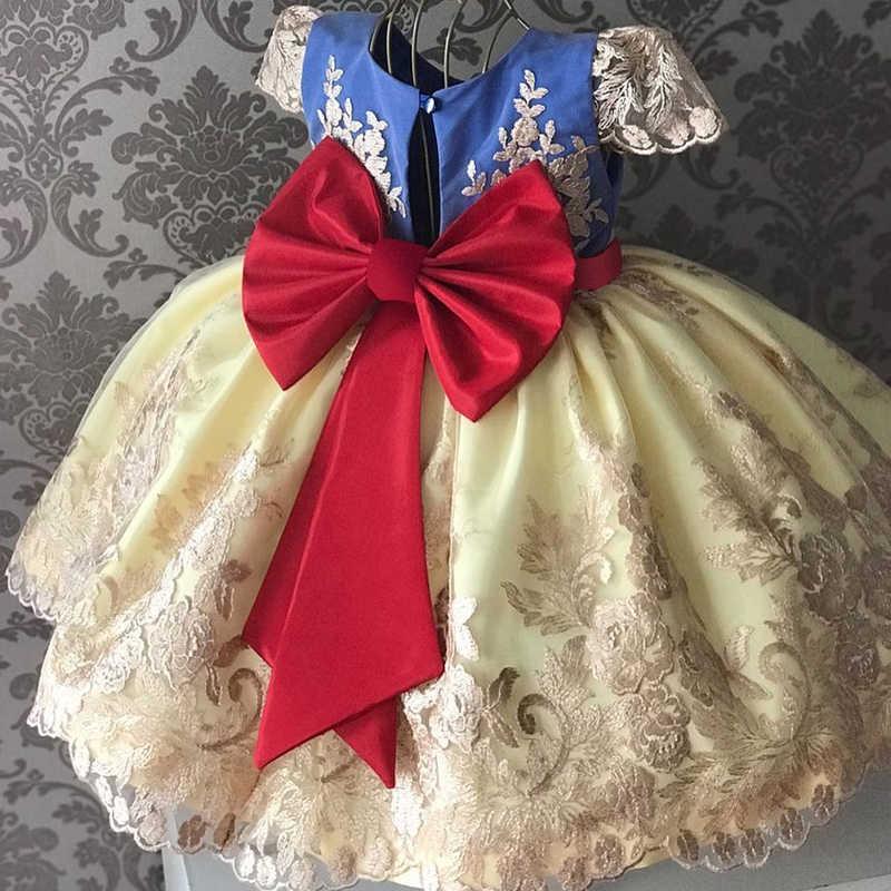 สาวเจ้าหญิงชุดเด็กสำหรับสาว Tutu ลูกไม้ดอกไม้ปัก Ball ชุดเด็กทารกเสื้อผ้าเด็กชุดแต่งงาน